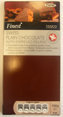 Tesco Finest Swiss Plain Chocolate With Espresso Filling
