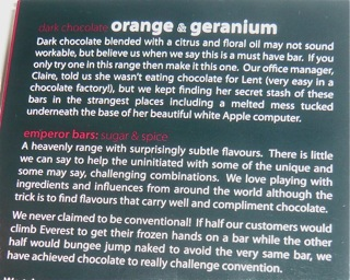 Montezuma's Orange & Geranium Dark Chocolate