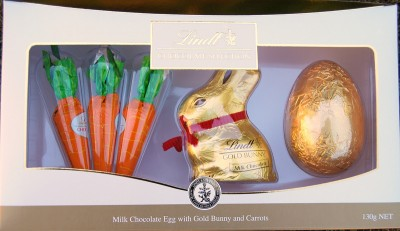 Lindt Milk Chocolate Egg With Gold Bunny and Carrots