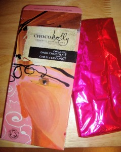Chocoholly Organic Dark Chocolate Infused with Chilli & Coconut