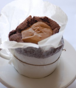 Chocolate Souffle with Dulce de Leche