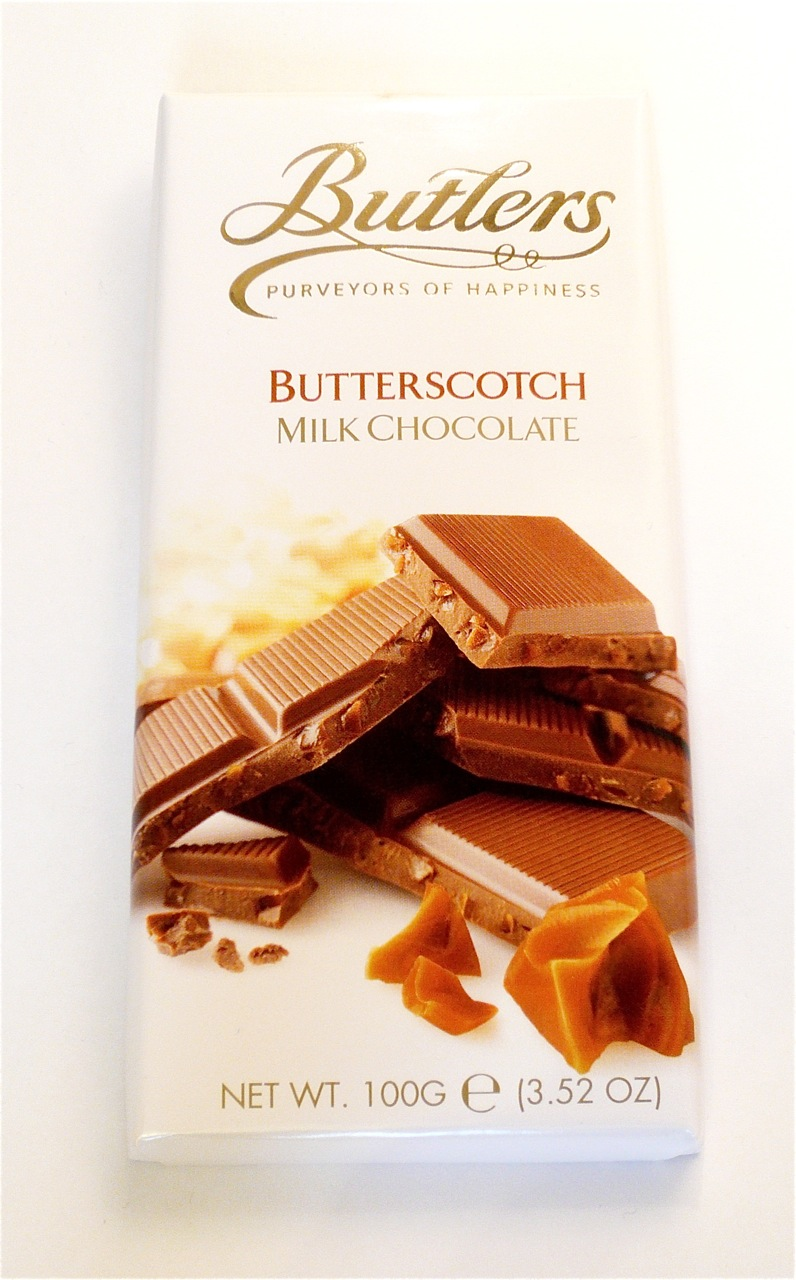 This is a 32% milk chocolate with small pieces of 'butterscotch ...