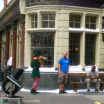 A snow machine, an elf and two confused Londoners