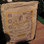 Cocoa bean sack at Duffy's stand