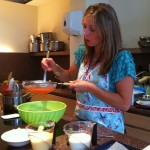 Jo making a strawberry marshmallow ice cream