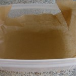 Tupperware container, lined with baking paper
