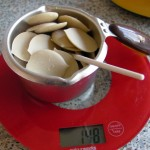 Weighing White Chocolate pieces