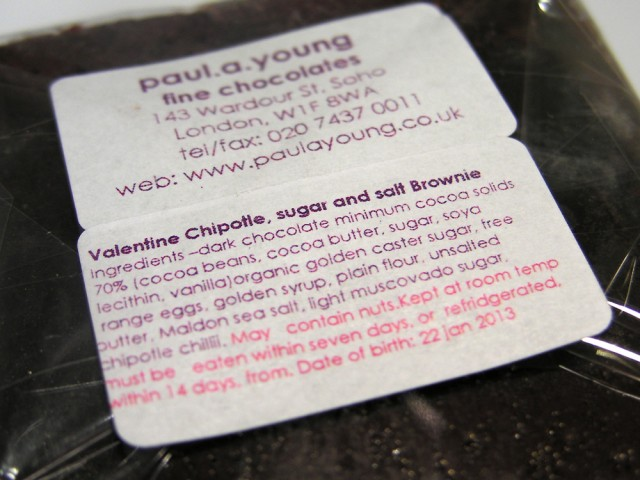 Paul A Young Valentine's Chipotle Brownie