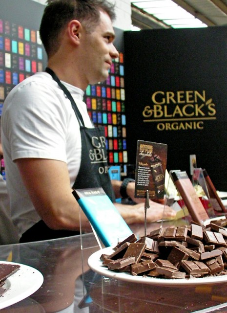 Brandt Maybury with the Green & Black's Sea Salt bar at The London Coffee Festival