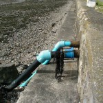 The pipes where the sea water is pumped ashore.