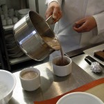 Pouring the hot chocolate. The salt really lifts the flavour.