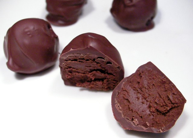 Chocolates made with microwaved tempered dark chocolate.