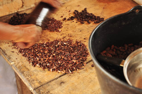 Making 'chocolate' the traditional way. La Embrolla, Beni Region, Bolivia.