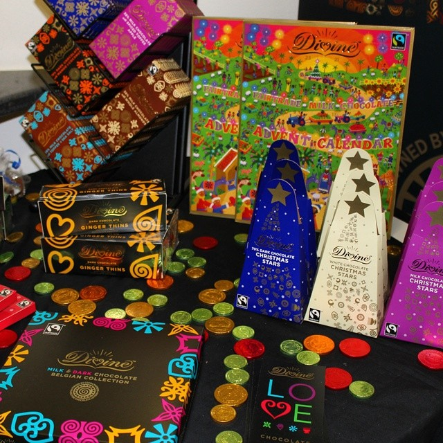 Lots of eye catching packaging on display from Divine Chocolate.