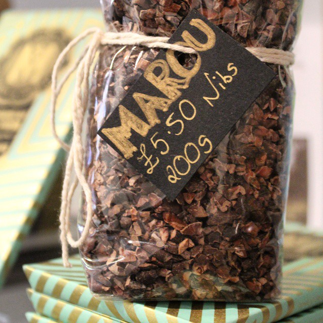 Delicious @marouchocolate cocoa nibs on sale at @chocaffinitea in Brighton.