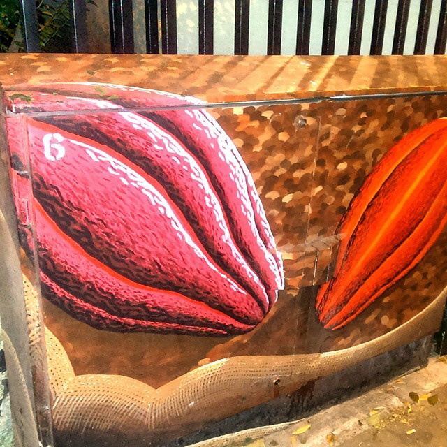 Beautiful randomness. This telecoms cabinet in Bermondsey Street has a wonderful cocoa pod mural.
