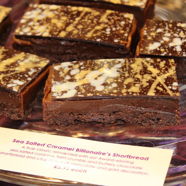 Salted caramel millionaire's shortbread by @paul_andrew_young at #TheChocolateShow