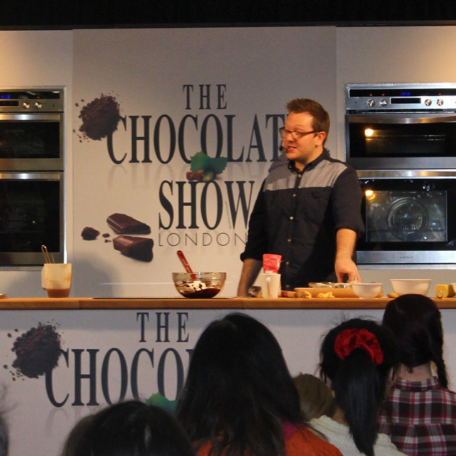 Watching @theboywhobakes on stage at #TheChocolateShow now!