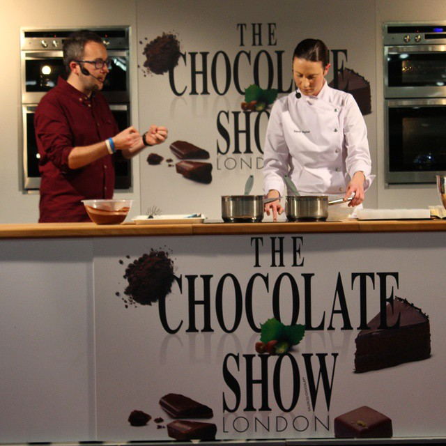 The brilliant @@Sbarber_ on stage making amazing desserts! #TheChocolateShow