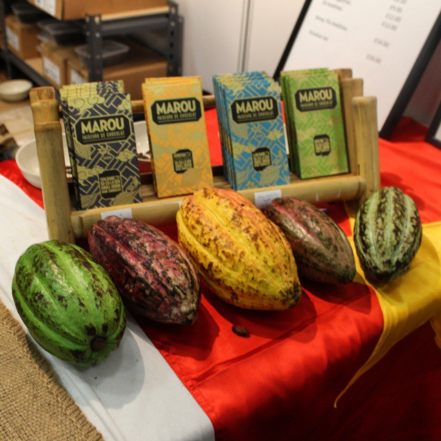 Beautiful real, fresh cocoa pods on display at the @@marouchocolate stand at #TheChocolateShow