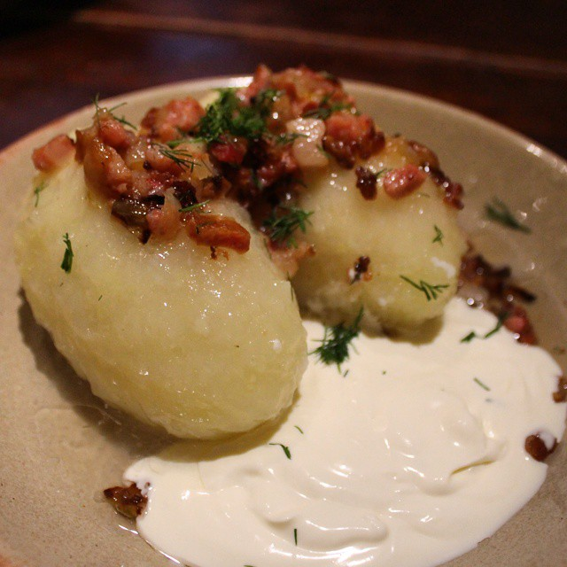 Traditional (and delicious) Lithuanian dish. Potato dumplings stuffed with mincemeat and sour cream.