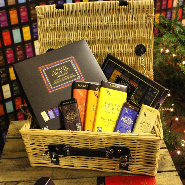 A Christmas hamper from @@greenandblacks at Taste Of London...