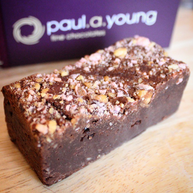 Breakfast. Valentines Pink Praline Brownie from @paul_andrew_young. Not sharing.