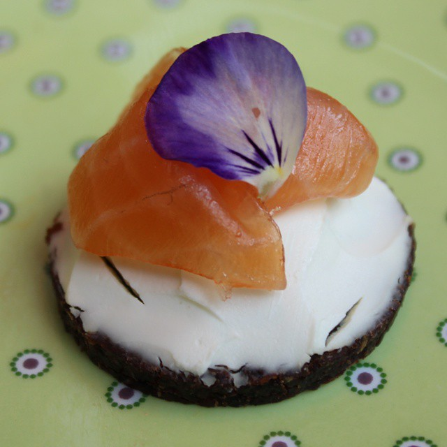 Smoked salmon on pumpernickel @pontst afternoon tea.