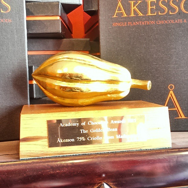 Åkesson's AoC Golden Bean award on display on their shop!