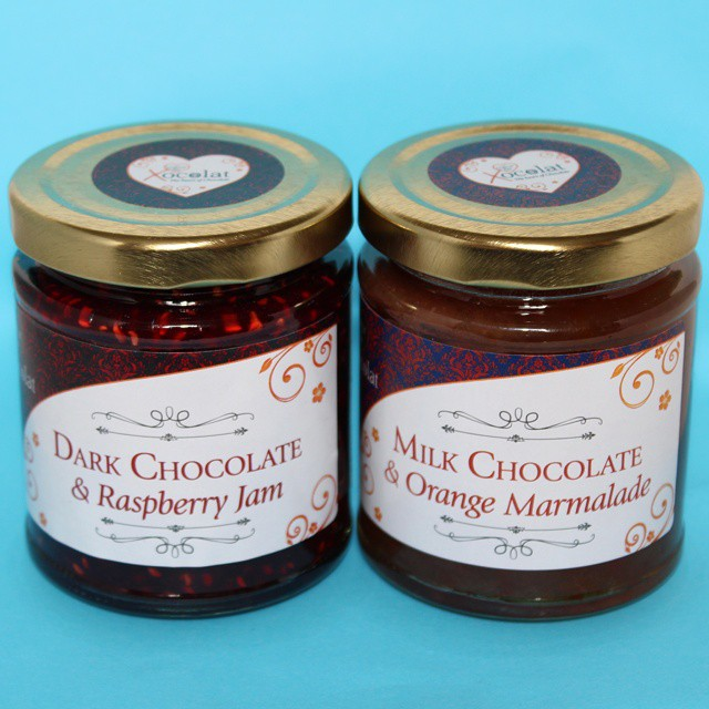 A tasty gift from @dghchocolatier at #ife15. Jam & marmalade with chocolate! #everythingisbetterwithchocolate