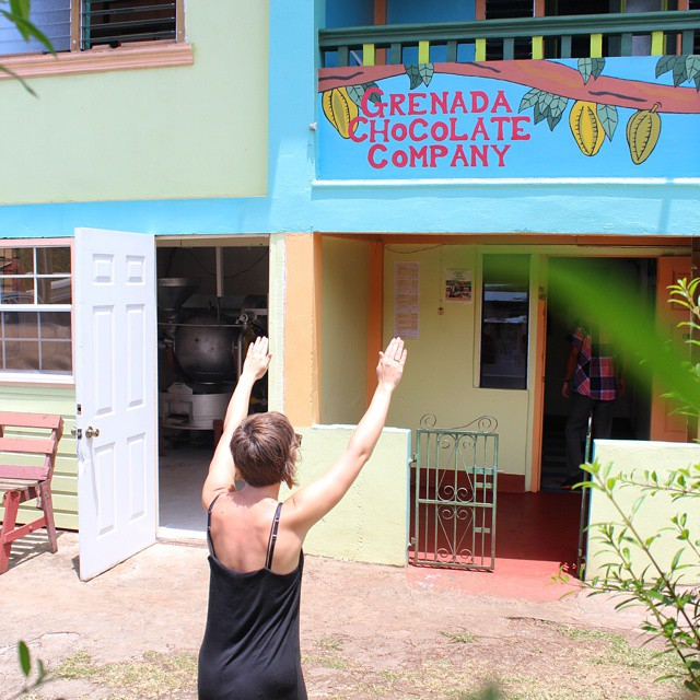 Here we see @hazel_choc praying on sacred ground at The Grenada Chocolate Company.