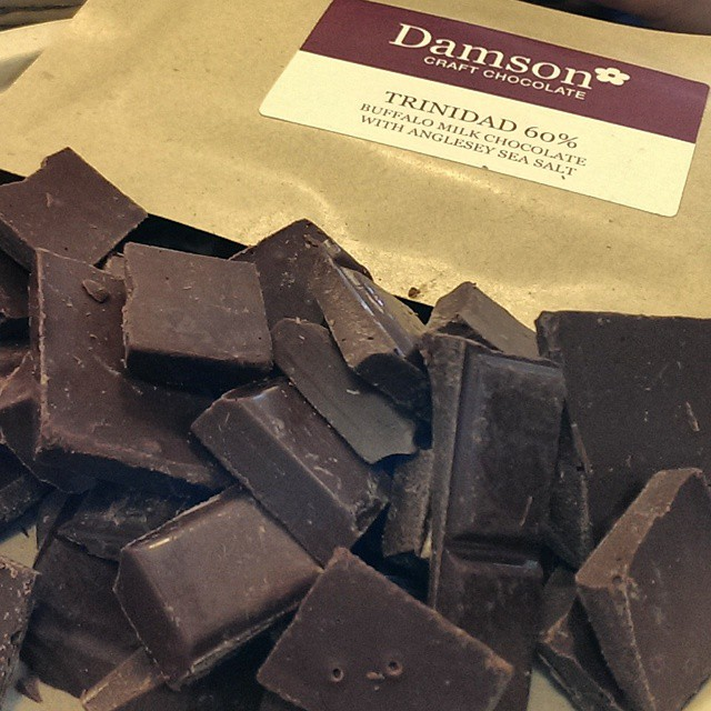Tasting my @damsonchocolate Trinidad Buffalo Milk at @@NudgePR's office warming