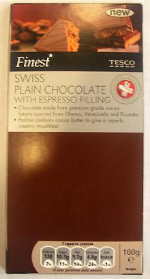 Tesco Finest Swiss Plain Chocolate With Espresso Filling