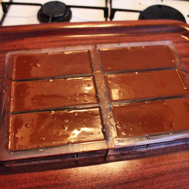 I need more practice but here's my first ever  batch in the moulds! Ecuador 70%.